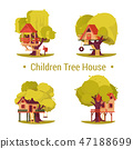Set of isolated houses for children on trees. 47188699