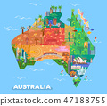 Map of Australia with landmarks of architecture 47188755