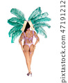 Beautiful woman in a carnival outfit from the back 47191212