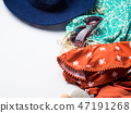 Beach female fashion accessories on white 47191268