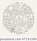 Sex Shop Line Icons Circle 47191380
