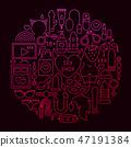 Sex Shop Line Icon Circle Concept 47191384