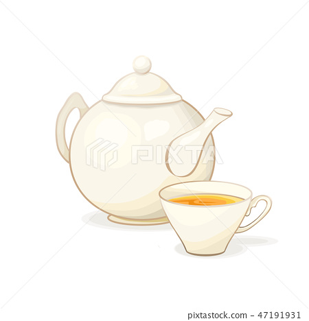 Porcelain Teapot and Tea cup with Tea. Isolated and Detailed Vector Illustration 47191931