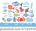 Seafood print style color 47193919