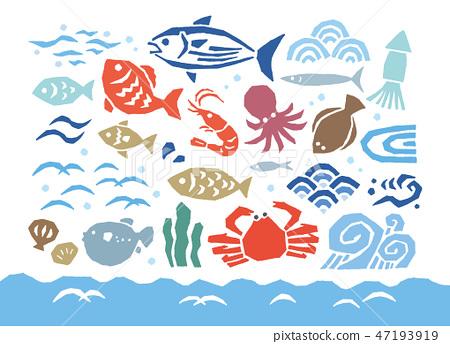 海鮮印花風格的顏色 47193919