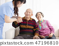 Health visitor and  senior couple during  visit 47196810