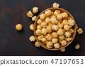 caramel, popcorn, bowl 47197653