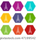Eiffel tower icons set 9 vector 47199542