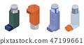 Inhaler icon set, isometric style 47199661