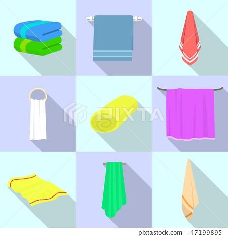 Towel icon set, flat style 47199895