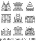 Temple icon set, outline style 47201108