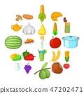 Vegan cuisine icons set, cartoon style 47202471