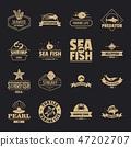 Fish sea logo icons set, simple style 47202707