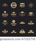 Belt buckle logo icons set, simple style 47202745