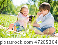 Children in park with pet 47205304