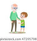 Grandfather with Grandson Smiling. Flat Cartoon. 47205798