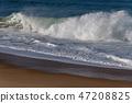 Spashing Atlantic ocean waves in Nazare, Portugal. 47208825
