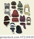 Winter or autumn headwear collection. Vector illustration, EPS 10 47210439