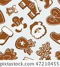 Vector set of gingerbread cookies pattern. Vector illustration, EPS 10 47210455