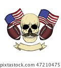american, football, skull 47210475