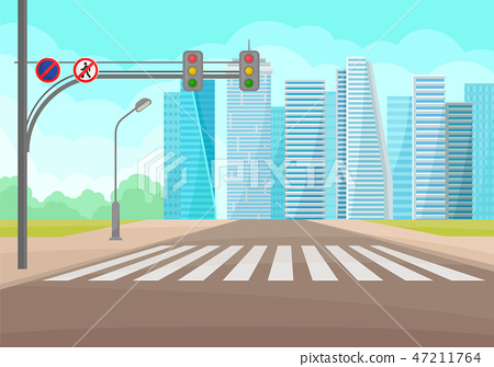 Urban landscape with road, crosswalk, traffic signs and lights, high-rise buildings. Flat vector 47211764