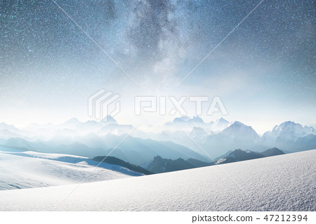 Mountains and sky with stars. 47212394
