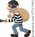 Cartoon Thief walking and carrying a bag with flas 47213483