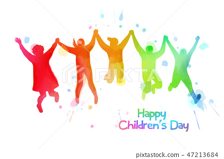 Happy kids jumping together . Happy children's day 47213684