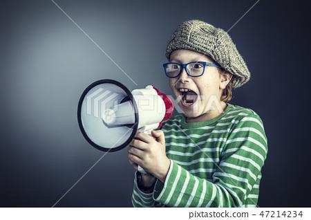boy with megaphone 47214234