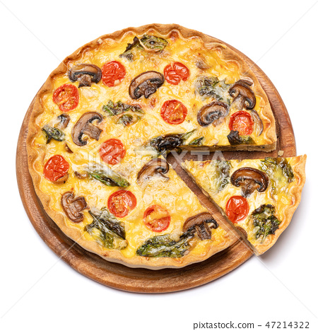 Traditional french Baked homemade quiche pie isolated 47214322