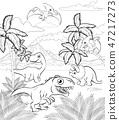 Dinosaur Cartoon Prehistoric Landscape Scene 47217273