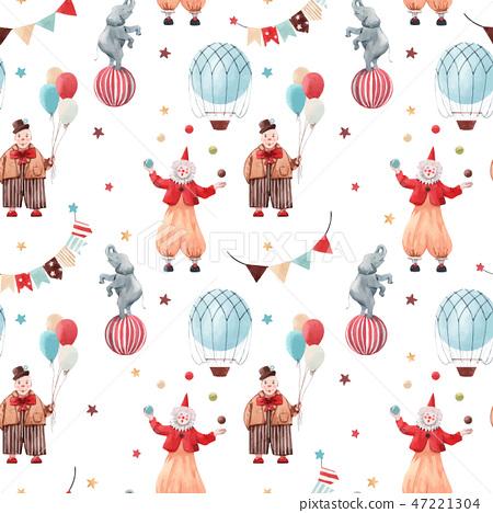 Watercolor circus vector pattern 47221304