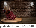 Grape and wine. 3D rendering  47222808