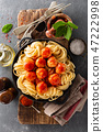 Spaghetti with tomato sauce and meatballs 47222998