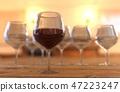 glasses wine on wooden. 3D rendering 47223247