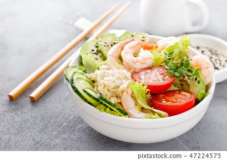 Hawaiian poke bowl with shrimps and rice 47224575