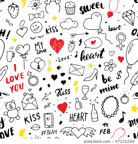 Love and Valentine Day seamless pattern vector  47228268