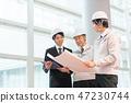 นักธุรกิจรับเหมาทั่วไปอุตสาหกรรมก่อสร้างหมวกกันน็อคการประชุมการตรวจสอบ 47230744