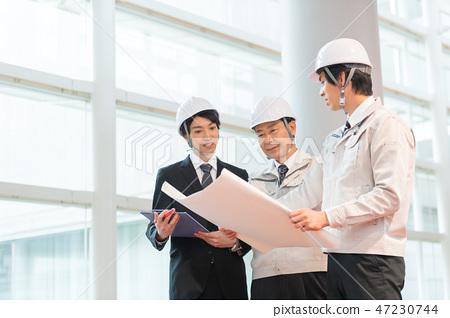 商人,總承包商,建築業,頭盔,會議,檢查 47230744