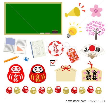 Passing wishes for the exam Illustration material set - Stock