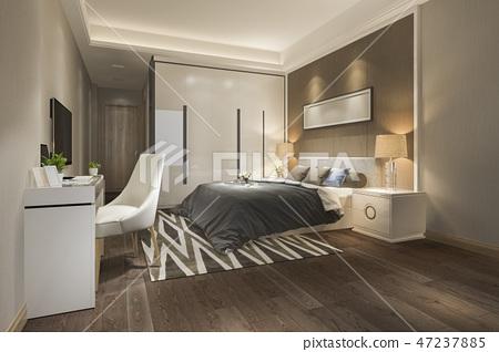 luxury bedroom suite in hotel with tv 47237885