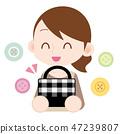 수제 가방을 보이는 앞치마 엄마 수예 좋아 47239807