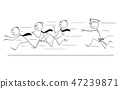 Cartoon of Group of Businessmen Running From Policeman 47239871