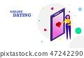 Happy Valentine's day flat design background 47242290