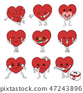 set of emotion feeling hearts vector hand drawn 47243896