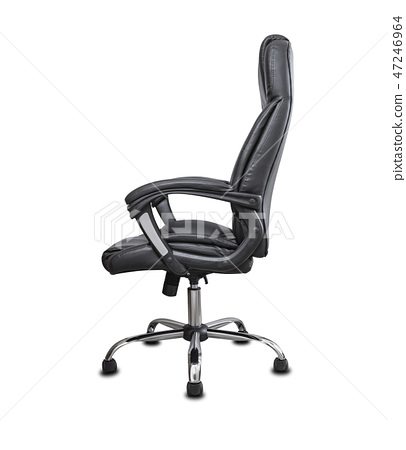 The office chair from black leather. Isolated on white background. 47246964