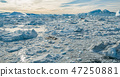 Arctic nature landscape with icebergs in Greenland icefjord - aerial drone image 47250881