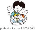 아기를 목욕시키는 아빠 47252243