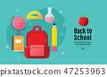 back to school sale banner, poster, flat design  47253963