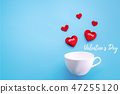Valentine's day. red heart with white coffee cup 47255120